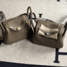 Stock Hermes CK18 Gris Etoupe TC Calf Mini Lindy Bag19cm Gold/Silver Hardware