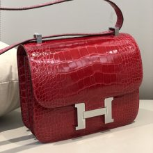 Stock Hermes CK95 Braise Shiny Crocodile Constance Bag24cm Silver Hardware
