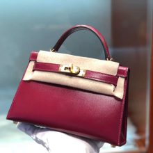 Customize Hermes Box Calf Minikelly-2 Clutch Bag in Rouge Grenade Gold Hardware