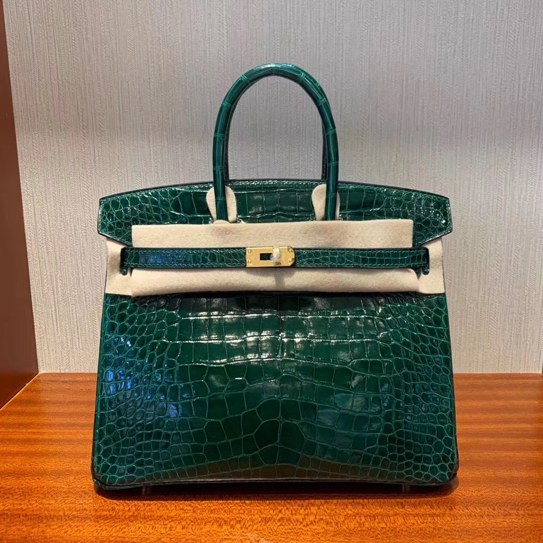 Stock Hermes CK67 Vert Fonce Shiny Crocodile Birkin Bag25cm Gold Hardware