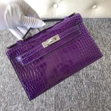 Stock Hermes Shiny Crocodile Minikelly22cm Clutch Bag Ultraviolet Silver Hardware