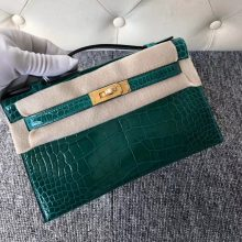 Stock Hermes 6Q Vert Emeraude Shiny Crocodile Minikelly Pochette22CM Gold Hardware