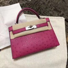 Stock Hermes L3 Rose Purple KK Ostrich Minikelly-2 Evening Bag19cm Silver Hardware