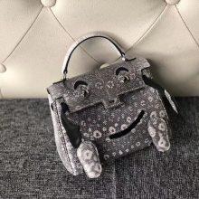 Lovely Hermes Himalaya/Noir Lizard Leather Kelly Doll Bag Silver Hardware