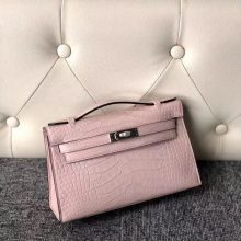 Customize Hermes 3Q Pink Matte Crocodile Minikelly Clutch Bag22cm Silver Hardware