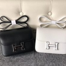 Stock Hermes Black VS 01White Box Calf Constance18cm Bag Enamel Hardware