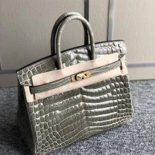 Stock Hermes Shiny Crocodile Birkin Bag25cm CK81 Gris T Gold Hardware
