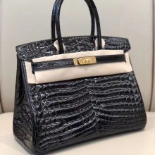 Stock Hermes Noble CK89 Noir Shiny Crocodile Birkin30cm Bag Gold Hardware